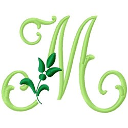 Greenery Monogram Font M embroidery design