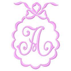 Scalloped Monogram A embroidery design