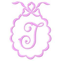 Scalloped Monogram J embroidery design