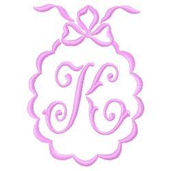 Scalloped Monogram K embroidery design