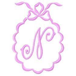 Scalloped Monogram N embroidery design