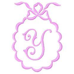 Scalloped Monogram Y embroidery design