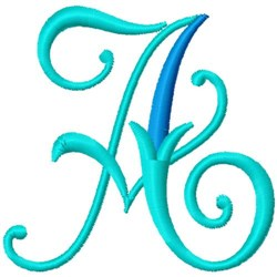 Blue Monogram Font A embroidery design