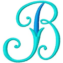 Blue Monogram Font B embroidery design