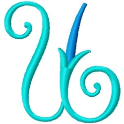 Blue Monogram Font U embroidery design