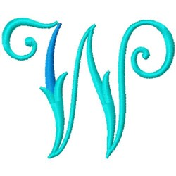 Blue Monogram Font W embroidery design