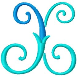 Blue Monogram Font X embroidery design
