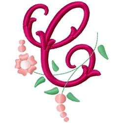 Floral Monogram Letter C embroidery design