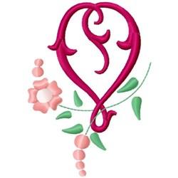 Floral Monogram Letter V embroidery design