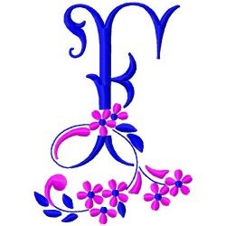 Floral MonogramF embroidery design