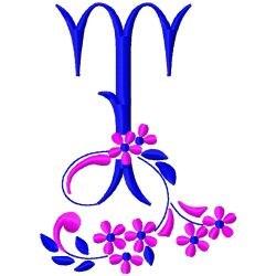 Floral Monogram T embroidery design