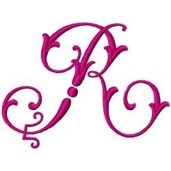 Fancy Monogram R embroidery design