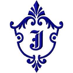 Monogram Crest J embroidery design