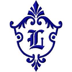 Monogram Crest L embroidery design