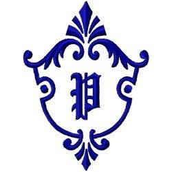 Monogram Crest P embroidery design