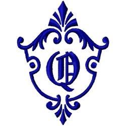 Monogram Crest Q embroidery design