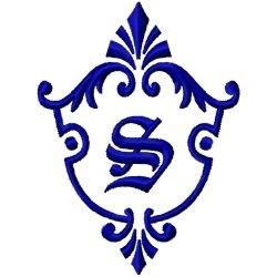 Monogram Crest S embroidery design