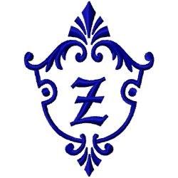 Monogram Crest Z embroidery design