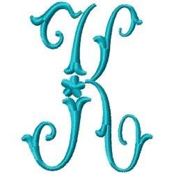 Elegant Monogram K embroidery design