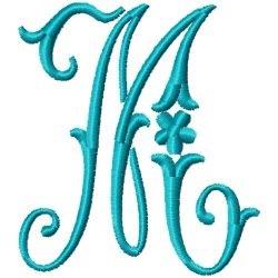 Elegant Monogram M embroidery design