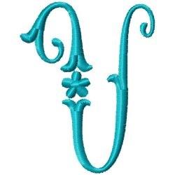Elegant Monogram U embroidery design