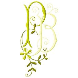 P B Monogram embroidery design