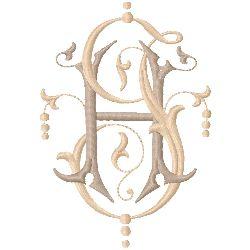HJ Monogram embroidery design