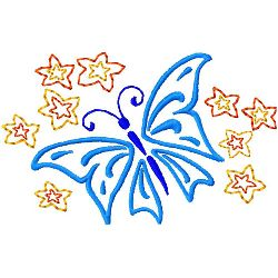 Butterfly with Stars embroidery design