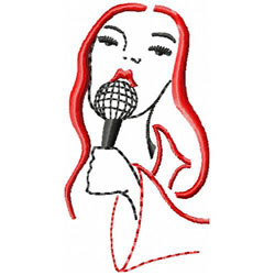 Singer Holding Microphone embroidery design