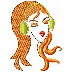Woman With Headphone embroidery design