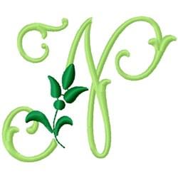 Greenery Monogram Font N embroidery design