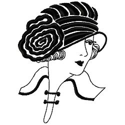 Cloche Hat With Rosetta embroidery design