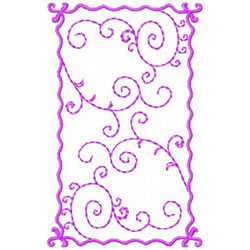 Spiral Vine In A Frame embroidery design