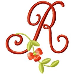 Floral Monogram Font R embroidery design