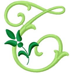 Greenery Monogram Font T embroidery design