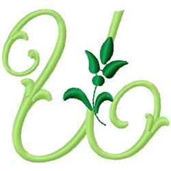 Greenery Monogram Font U embroidery design