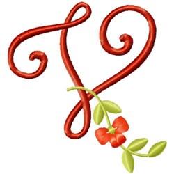 Floral Monogram Font V embroidery design