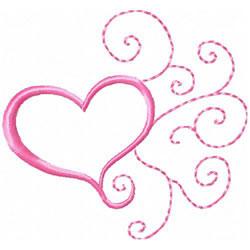 Heart & Spirals embroidery design