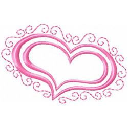 Heart With Scrollwork Border embroidery design