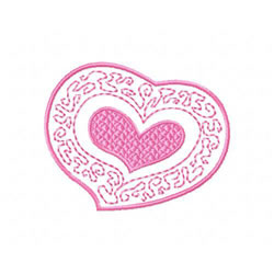Heart In Filigree Frame embroidery design