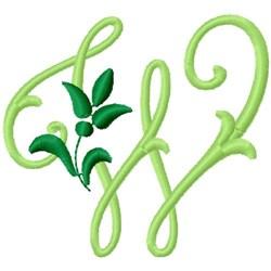 Greenery Monogram Font W embroidery design