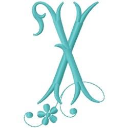 Floral Monogram Font X embroidery design