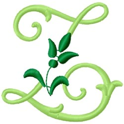 Greenery Monogram Font Z embroidery design