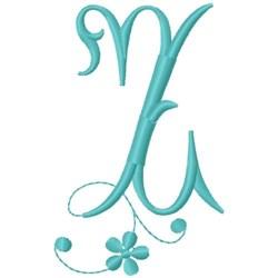 Floral Monogram Font Z embroidery design