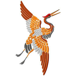 Asian Bird In Flight embroidery design