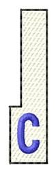 White Piano Key C embroidery design