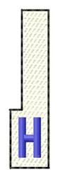 White Piano Key H embroidery design