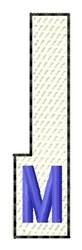 White Piano Key M embroidery design