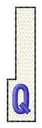 White Piano Key Q embroidery design