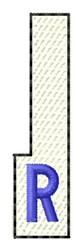 White Piano Key R embroidery design